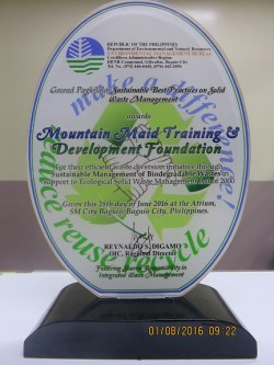 Mountain Maid Training Center award